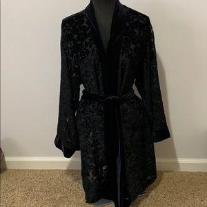 Victoria's Secret black sheer/ crushed velvet S